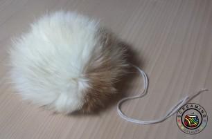 Kaninchenfellbommel weiß-hellbraun 1