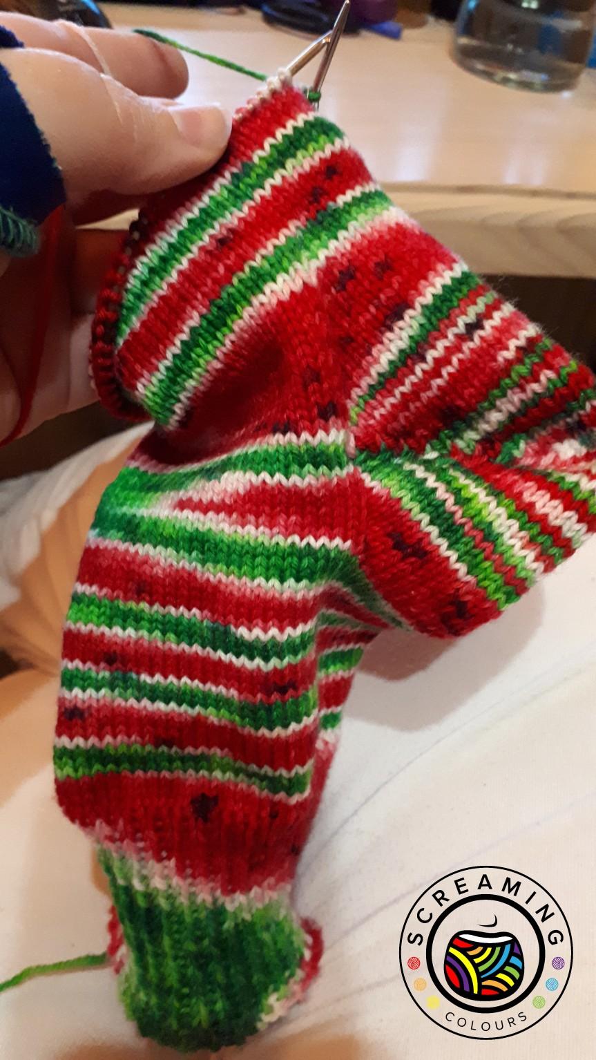 Wassermelone-Socken Progress