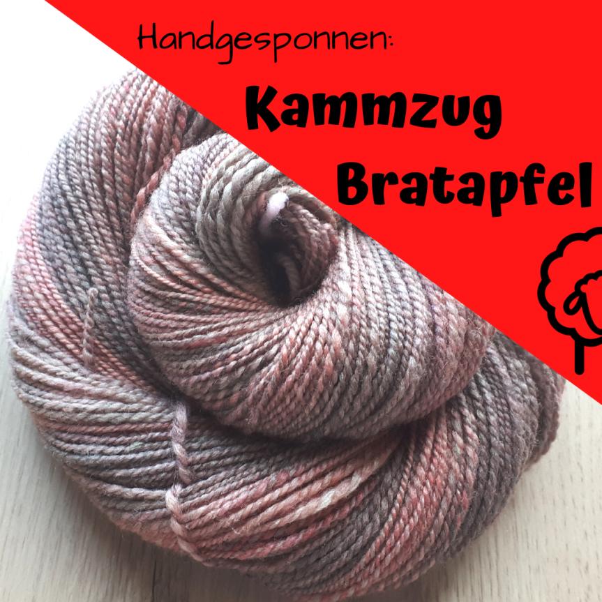 Handgesponnen: Kammzug Bratapfel